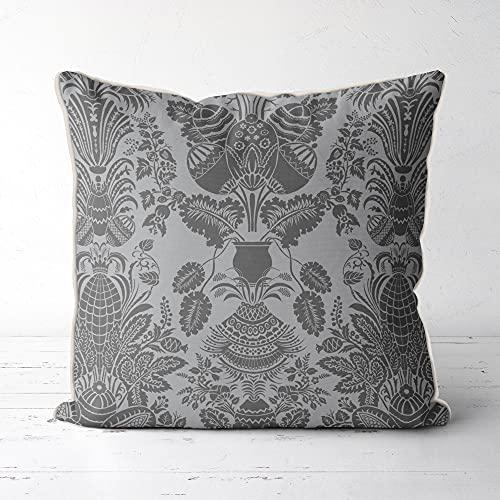Funda de cojín gris y plata rústica para sofá moderno damasco imperial casa botánica decoración para sofá