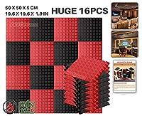 エースパンチ 新しい 16ピースセット黒と赤 500 x 500 x 50 mm ピラミッド 東京防音 ポリウレタン 吸音材 アコースティックフォーム AP1034