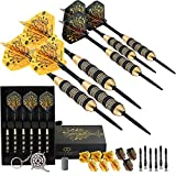 CC-Exquisite Professional Steel Tip Darts Set - 6 x 20g Brass Barrels with 12 Flights Standard/Slim, 12 Aluminum Shafts 35/48mm, 12 O-Rings, Dart Tool, Dart Sharpener and Case for Man Cave & Game Room