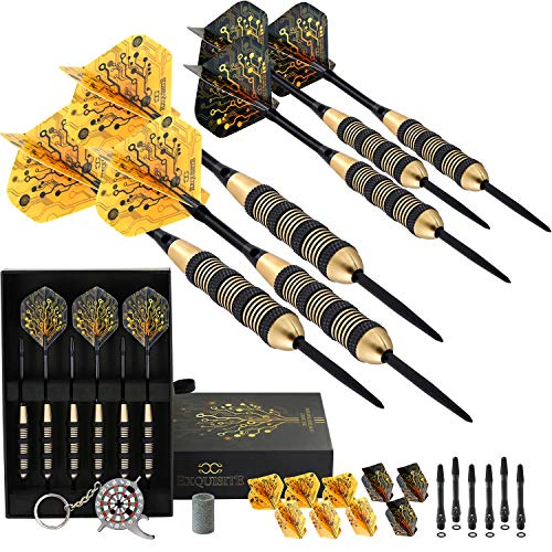 CC-Exquisite Professional Steel Tip Darts Set - 6 x 20g Brass Barrels with 12 Flights, Black