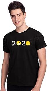 Bewakoof Men's Cotton Printed 2020 Emojis Symbol Half Sleeves | Round Neck | Regular Fit T-Shirt/Tee