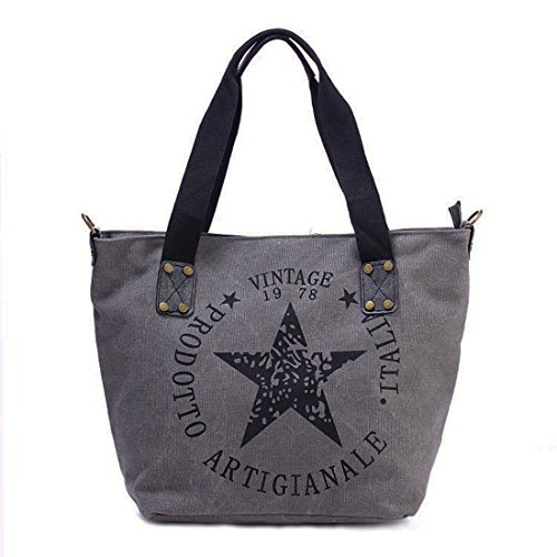 Star Shopper Bag Vintage Stern Damen Stamp Tasche Fashion Henkeltasche Canvas Stoff (Grau)