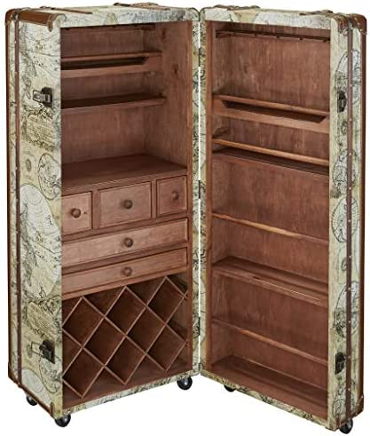 Design Toscano Italian Style World Map Cocktail Bar Steamer Trunk 49 5 Inch full color product image