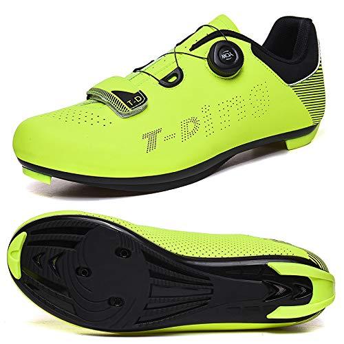 Zapatos Hombres Bici del Camino de Bicicletas Zapatillas Antideslizantes Transpirable Zapatos de Ciclo de Auto-Bloqueo de triatlón los Zapatos atléticos T011-green 7.5