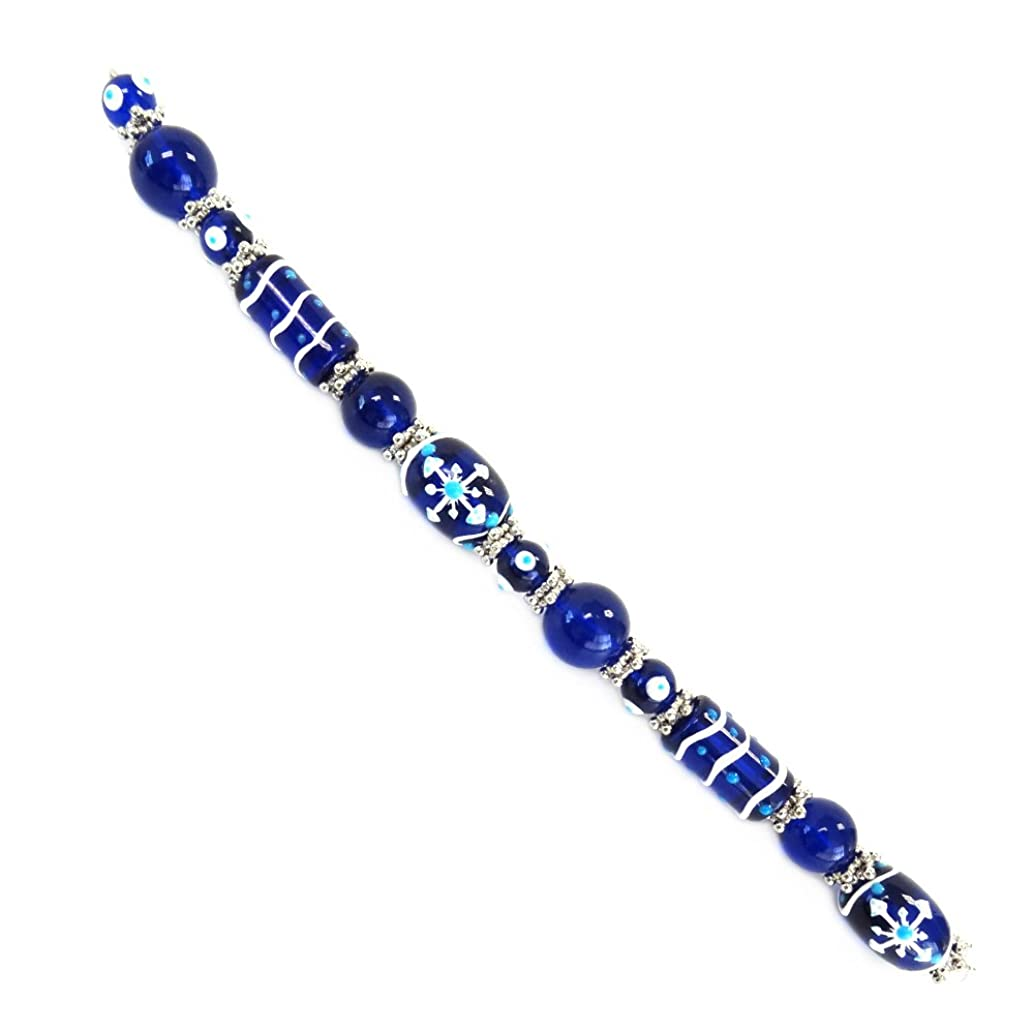 Fiona SUP-11-6 7-Inch Beads Strand, Snow Flakes and Decor Painted on Blue Glass Beads