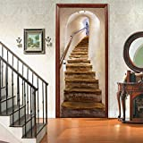 2Pcs 3D Door Sticker Vinyl Mural Stairs Corridor Forest Path Self Adhesive Removable Wallpaper Decal Interior Doors Bedroom Living Room Antique Decor for Home (B)