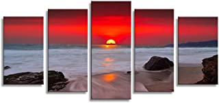 HLJ ART Sunset Red Sky Beach Photography Canvas Wall Art Modern Giclee Prints Artwork Multi Seascpe Pictures Photo Paintings Stretched and Framed, Ready to Hang (Red Sun)