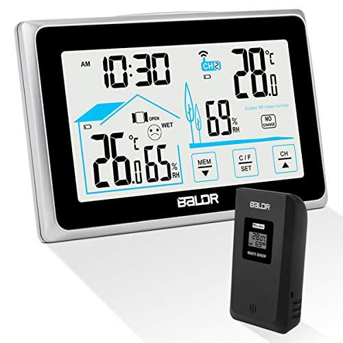 Qomolo Wetterstation mit Außensensor Wireless Hygrometer Thermometer mit LCD-Bildschirm, Wetterstationen für den Innen- und Außenbereich mit Datum Uhrzeit Con Berührungssensitiver Bildschirm