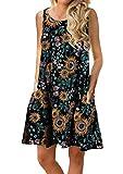 OMZIN Vestido de Mujer Vestido sin Mangas de algodón Vestido Corto de Verano Vestido de Fiesta Flores Negro/Amarillo XXL
