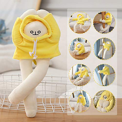 Kexle Banana Man Doll Pose Changeable as You Like Plush Toy Dolls, Banana Figurine Toy Cute Doll Stuffed Toy White Body Dressed in Yellow Hoodie Long Hands Legs Banana Shaped Doll, 15.7inch Long