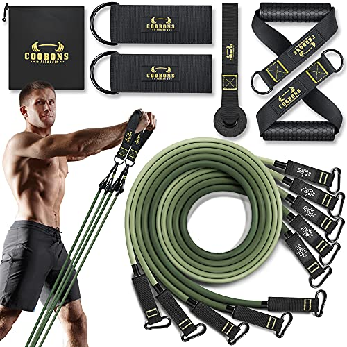 Resistance Bands Set - 150LBS Exercise Bands with Handles, Door Anchor, Fitness Bands for Men and Women, Elastic Bands for Physical Therapy, Home Workouts, Srength Training Equipment