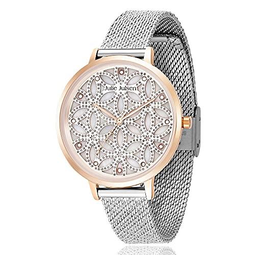 Julie Julsen Reloj de pulsera de cuarzo para mujer Flower of Life en oro rosa con circonitas – JJW1235G38-RGSME