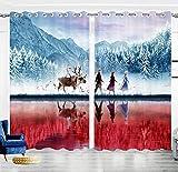 lubenwei Frozen 2 Cortinas de Ventana para habitación de niños para sombreado de Regalo de cumpleaños y Cortina de Aislamiento térmico 250(H) x140(W) Cmx2 Paneles/Set (B-2185)