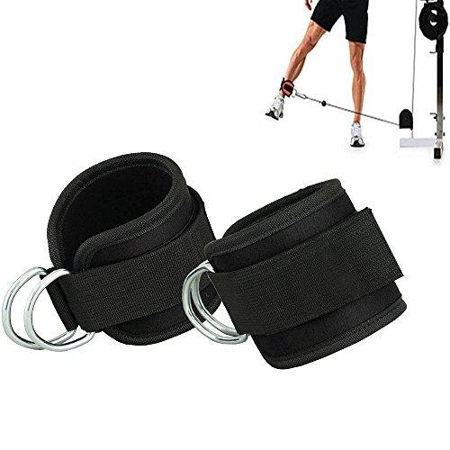 Grofitness Correas ajustables para los tobillos con doble anilla en D, correa para muñecas y piernas de peso, para fijar máquina de cable, 1 par