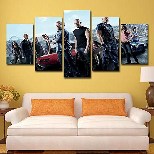 ZEMER Fast & Furious Film Leinwanddrucke Wandkunst 5 Stücke Drucke Film Charakter Moderne Kunstwerk Bilder Für Dekoration,B,30x45x2+30x60x2+30x75x1