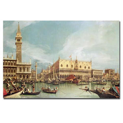 The Molo, Venice by Canaletto, 14x19-Inch Canvas Wall Art