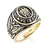 US Military Veteran Ring - (Gold Color) War Veteran Jewelry Military Rings for Army, Navy, Marines, Air Force, Coast Guard - Officers Military gear with flag decal emblem design. (12)