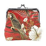 Monedero de piel con cierre de broche para mujer, diseño vintage de pájaro y flor
