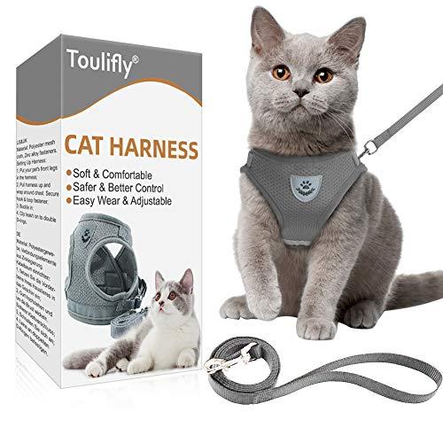 Toulifly Katzengeschirr, Katzen Weste mit Leine, Verstellbare Geschirr für kleine Katze und Hunde, Escape Proof Cat Harness Set mit Leinen (M)
