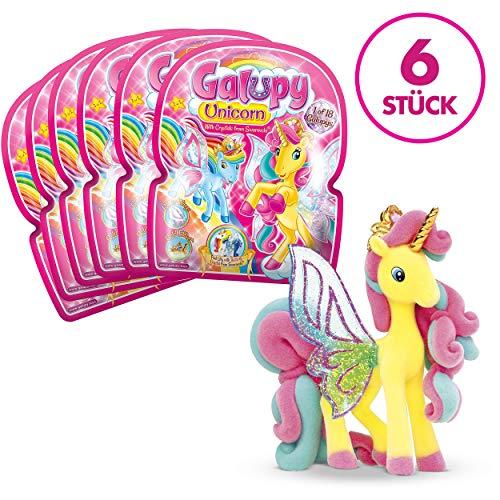 CRAZE GALUPY Unicorn Bezaubernde Einhorn Spielfiguren Ponys zum Sammeln 6er Set 27752, Verschiedene Farbvariationen, 6