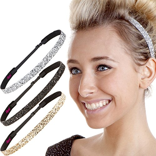 Hipsy Women's Adjustable NO SLIP Skinny Bling Glitter Headband Multi 3pk (Black/Gold/Silver)