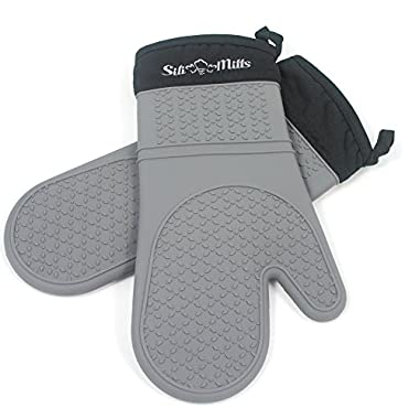 Grey Silicone Oven Mitts - 1 Pair of Extra Long Professional Heat Resistant Potholder Gloves - Oven Mitt Set of 2