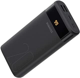 モバイルバッテリー 大容量 20000mAh ROMOSS 携帯充電器 Type-C入力対応 PSE認証済み LCD残量表示 スマホバッテリー iPhone Android 対応 Ares20 黒