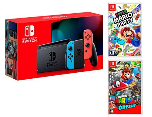 Nintendo Switch Rouge/Bleu Néon 32Go Pack [Nouveau modèle] Super Mario Party + Super Mario Odyssey