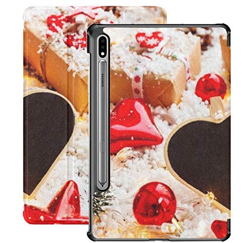 Funda Galaxy Tablet S7 Plus de 12,4 Pulgadas 2020 con Soporte para bolígrafo S, Fondo de Navidad y año Nuevo Presenta Cintas Funda Protectora Delgada para Samsung