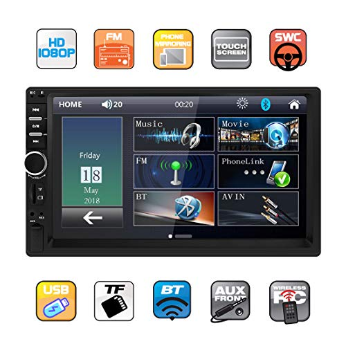 Double Din Car Stereo in Dash, FM Receiver with Remote, Car MP5 Media Player with 7inch Digital Resistive Touch Screen,Bluetooth Car Audio Mirror Link Monitor for Android & iOS