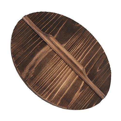 """Xu Yuan Jia-Shop Topfdeckel Wok-Abdeckung Holzdeckel Natürliche Holz Topfabdeckung Pan Deckel for 11 """"-16,5"""" Cast Iron Wok Stir Fry Pan Zubehör Universaldeckel (Größe : 42cm)"""