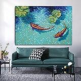 Cuadro de arte de pared Impresión HD Paisaje de peces koi abstracto Pintura al óleo Impresiones en lienzo Póster para sala de estar Decoración moderna para el hogar | 60x90cm | Sin marco