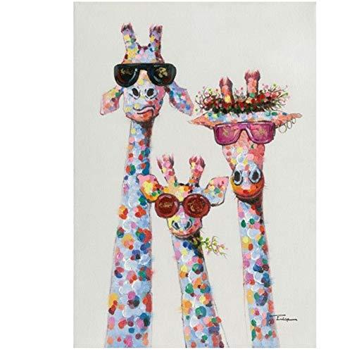 A&D Kunst buntes Öl Tier Giraffe Eine Familie mit Brille Malerei Leinwand Bild Leinwand Drucke Wandkunst für Schlafzimmer Zimmer -60x90cmx1pcs- Kein Rahmen