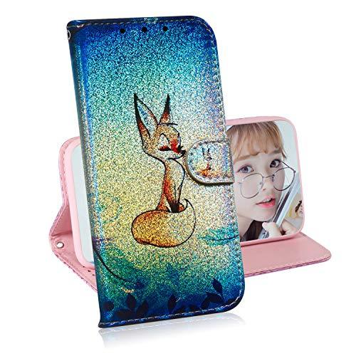 Glitzer Brieftasche Hülle für iPhone 8 Plus / 7 Plus,Miagon Änderung Farbe Tier Gemalt PU Leder Faltbare Flip Case mit Kartenhalter Standfunktion,Fuchs