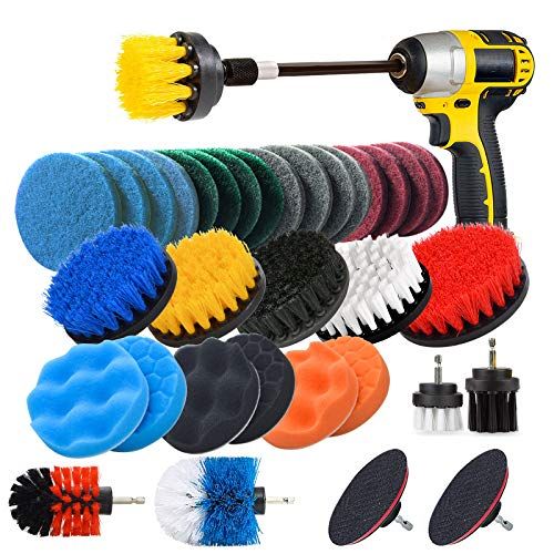 JUSONEY Drill Brush Scrub Pads 37 Piece Power Scrubber Cleaning Kit - All Purpose Cleaner Scrubbing Cordless Drill for Cleaning Pool Tile, Sinks, Bathtub, Brick, Ceramic, Marble, Auto, Boat