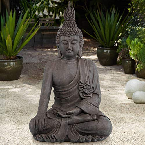 John Timberland Asian Zen Buddha Indoor Outdoor Statue 42' High Sitting for Yard Garden Patio Deck Home Entryway Hallway
