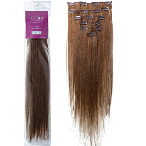 """Lina 15"""" 7Pcs Women Human Hair Clip In Silky Soft Straight Extensions #6 Chestnut Brown"""