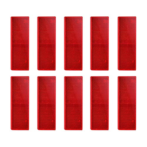 XGzhsa Rote Reflektoren für Fahrzeuge, selbstklebende rote Reflektoren, 10-teilige rechteckige Kunststoffreflektoren Sicherheitswarnaufkleber für Wohnmobile, Anhänger, Traktor-Torpfosten