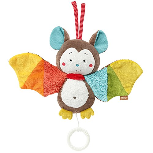 Fehn 067613 Spieluhr Fledermaus – Aufzieh-Spieluhr mit herausnehmbarem Spielwerk zum Aufhängen, Rascheln und Greifen, für Babys und Kleinkinder ab 0+ Monaten, Fledermaus, Jungle Heroes