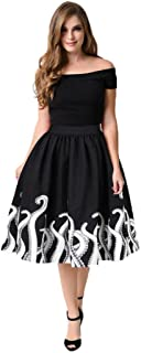 TOPUNDER Octopus Squid Fancy Print Pattern Mini Knee Length Skater Skirt For Women