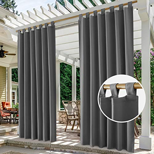 HOMEIDEAS 2 Panels Tab Top Outdoor Curtains for Patio Waterproof, Grey Blackout Outdoor Curtains, 52 X 84 Inch Thermal Insulated Gray Outdoor Patio Curtains for Porch/Pergola/Cabana/Gazebo