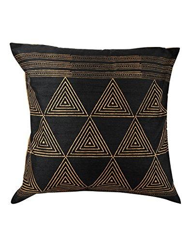 Indian Black 16x16 Cuscino tradizionale copertina singola Triangolo Polydupion federe Home Decor a mano blocco stampato tiro cuscino da Rajrang