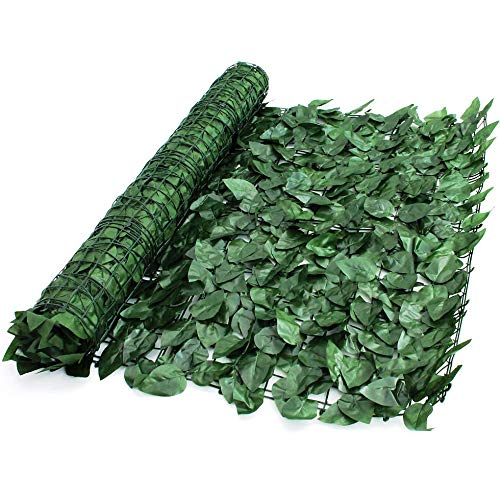 True Products S1011D Artificial Screening Ivy Leaf Hedge Panels On Roll Privacy Garden Fence 1m x 3m, Green