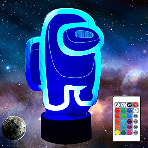 Entre nosotros 3D lámpara óptica ilusión noche luz noche lámpara noche lámpara para niñas niños niños edad 5 4 3 1 6 2 7 8 9 10 11 años