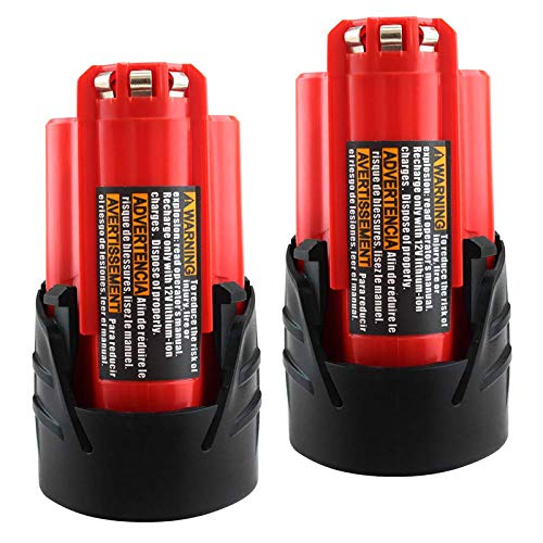 [Upgraded] 12V 48-11-2420 Replacement Battery 2.5Ah Lithium Compatible with Milwaukee 12Volt XC 48-11-2401 48-11-2402 48-11-2440 48-11-2411 Cordless Power Tool - 2 Packs