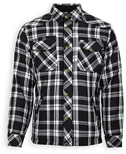 BORES Kevlar Hemd Shirt LUMBERJACK Holzfällerhemd LUMBER JACK schwarz weiss (M)