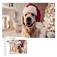 陽気な犬のラブラドールはサンタクロースの帽子をかぶっています 500ピースのパズル木製パズル大人の贈り物子供の誕生日プレゼント1000ピースのパズル