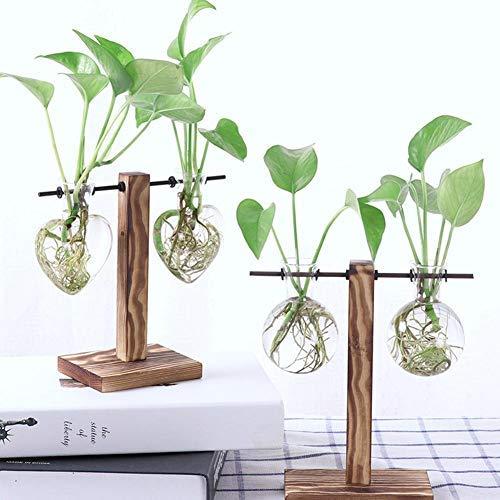 Jeffergarden Een hydroponic vaas glazen vaas met houten staander hart bolvorm hydrocultuur plant container tablet bureau decor