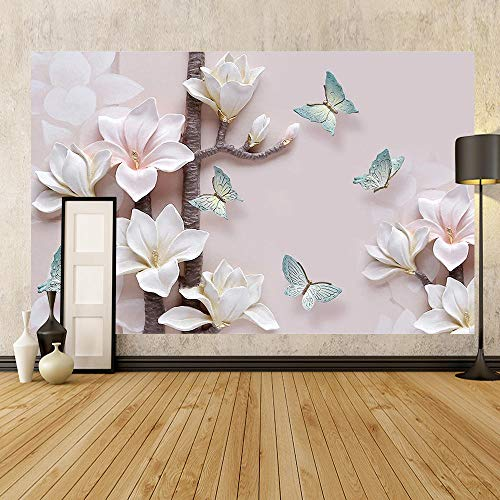 Calcomanías de pared papel pintado flor en relieve pared dormitorio salón TV fondo pared tienda de ropa decoración papel de pared