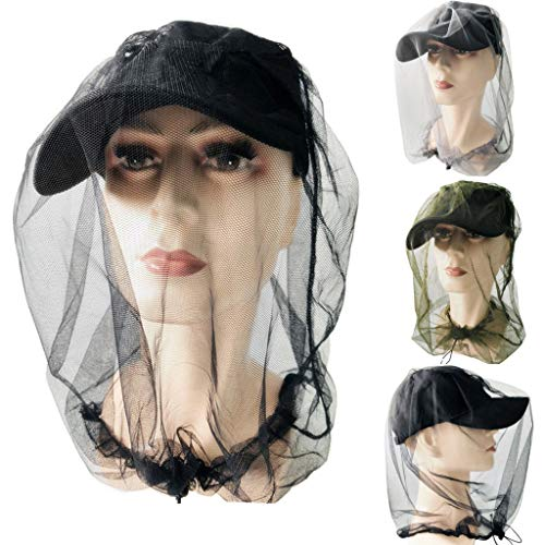 Mosquito Head Net Hat, Outdoor Safari Hiking Fishing Hats Sun Protection Head Mesh Protective Cover Face Mask from Insect Bug Bee Repellent Bucket Boonie Hat Cap for Men or Women Outdoor (Black)